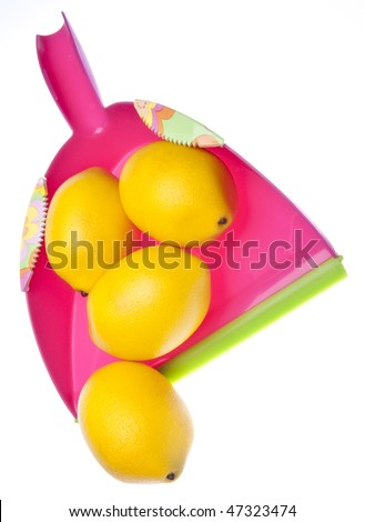 Pink dust pan with bright yellow lemons symbolizes Spring Cleaning.