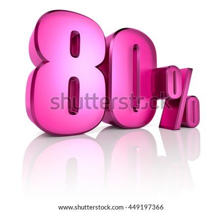 Pink eighty percent sign isolated on white background. 3d rendering - stock photo
