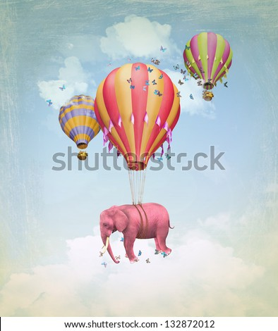 Pink elephant in the sky with balloons. Illustration for a card or book cover or magazine. Computer graphics. - stock photo