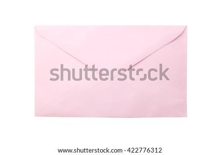 pink envelope - stock photo