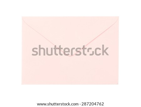 Pink envelope isolated on white background - stock photo