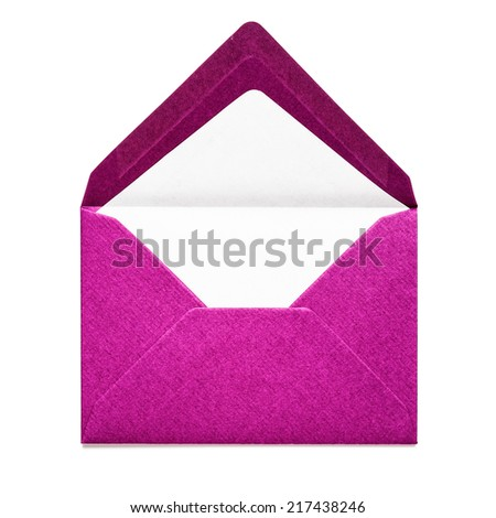 Pink envelope isolated on white background. Object with clipping path - stock photo