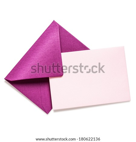 Pink envelope with card on white background, clipping path included - stock photo