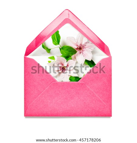 Pink envelope with clematis flowers. Single object isolated on white background clipping path included. Floral design elements
