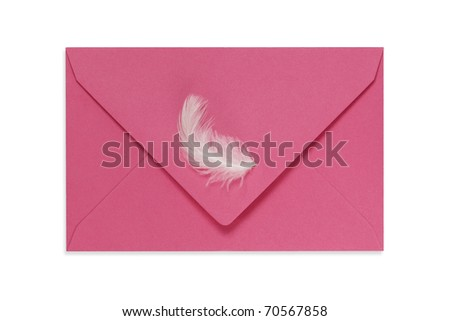 Pink envelope with white feather. Clipping path. - stock photo