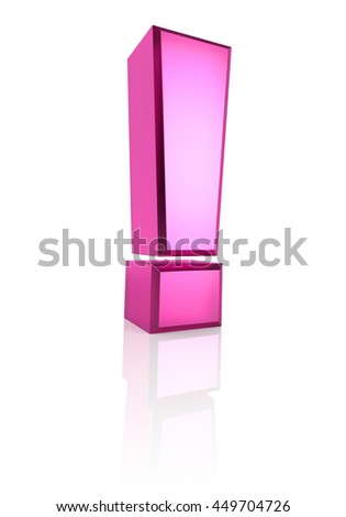 Pink exclamation symbol isolated on white background. 3d renderering - stock photo