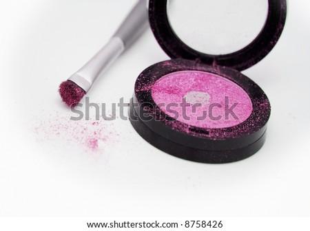 Pink eyeshadow with applicator brush - stock photo