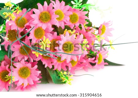Pink fabric flowers isolated on white background. - stock photo