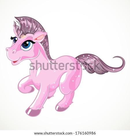 Pink fabulous unicorn - stock photo
