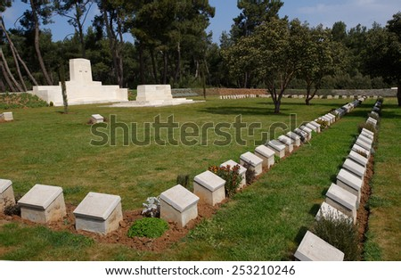 Pink Farm WWI British Military cemetery at Gallipoli, Turkey - stock photo