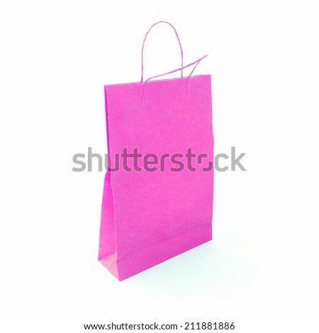 Pink fashion paper bag. Black Friday idea, Happy Valentine's Day, Love, Romantic concept.