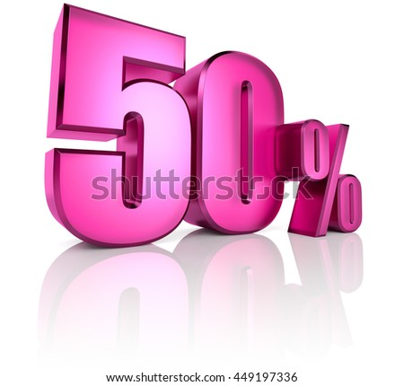 Pink fifty percent sign isolated on white background. 3d rendering