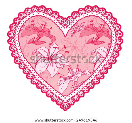 Pink fine lace heart with floral pattern. Design element for wedding or Valentines Day card. Raster version - stock photo