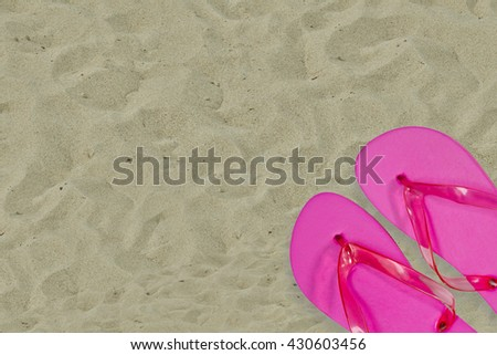 Pink Flip Flops in Detail on Sand - stock photo
