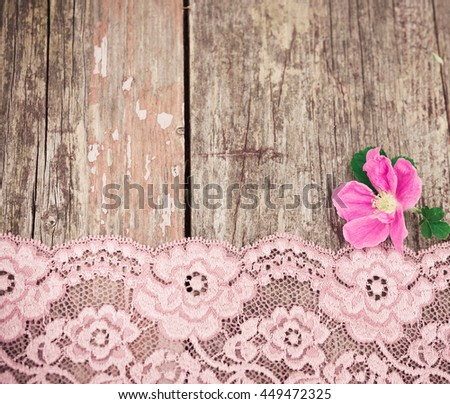 Pink Flower And Lace On Rustic Old Wooden Table Vintage Floral Background
