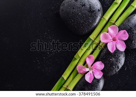 pink flower with black stones and bamboo grove on Wet black background. Spa Concept - stock photo