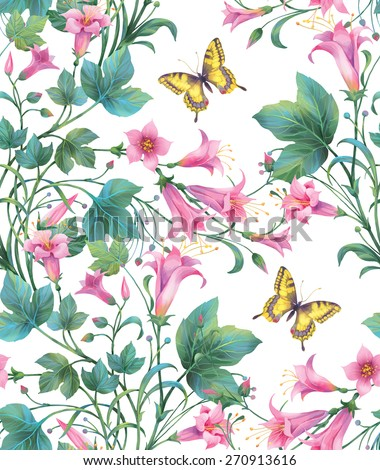Pink flowers and  yellow  butterflies. Seamless background pattern. Version 5 - stock photo