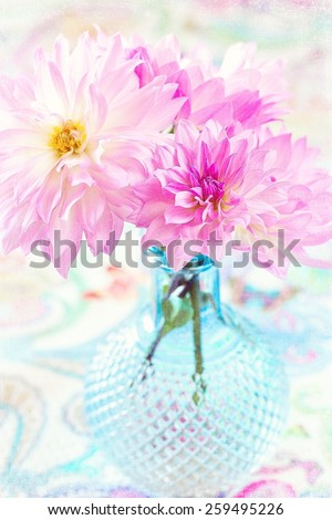 pink flowers close-up in a blue vase. - stock photo