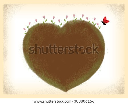pink flowers & leaves growing from heart shape dirt with butterfly bug over grunge background. Idea of romantic, green, valentine's, birthday card, love, growth, hope,  nature template background - stock photo