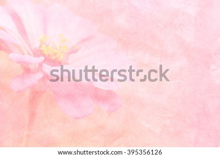 pink flowers on handmade paper or mulberry paper texture - stock photo