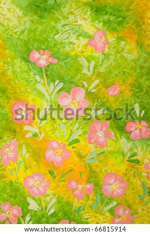 pink flowers over green background gouache illustration