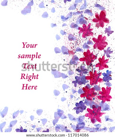 Pink Flowers painted in watercolor  with space for your text - stock photo