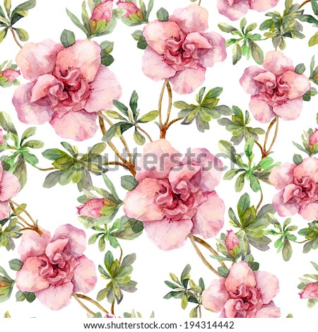 Pink flowers. Seamless floral repeated template. Hand painted watercolor on white background - stock photo