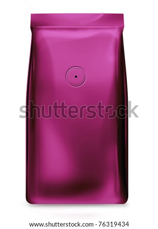 pink foil bag with valve - stock photo