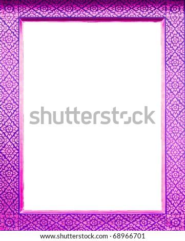 Pink frame Thai style Is a unique Thai style. The Thai craftsmanship on white isolate. - stock photo