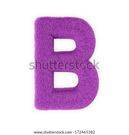 Pink Furry Letters isolated on a white background (Letter B) - stock photo