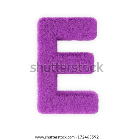 Pink Furry Letters isolated on a white background (Letter E) - stock photo