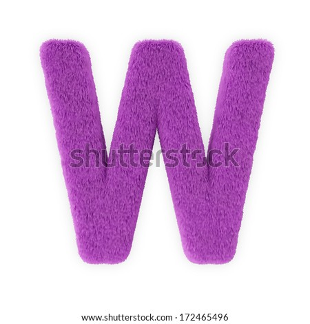 Pink Furry Letters isolated on a white background (Letter W) - stock photo