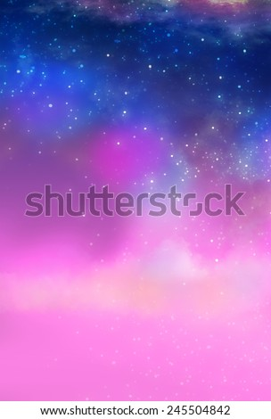 Pink Galaxy - Illustration for children - stock photo