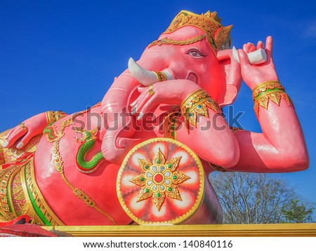 Pink Ganesha in relax pose, thailand