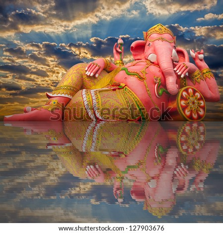 Pink ganesha statue - stock photo