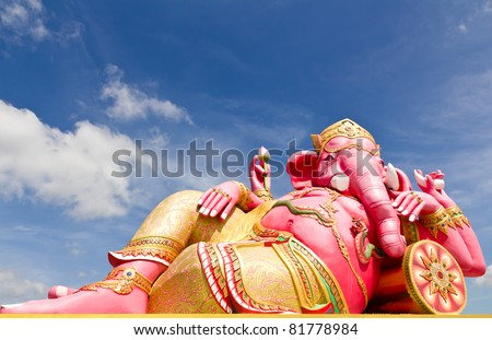 Pink ganesha statue in relaxing at Wat Samarn, Chachoengsao, Thailand
