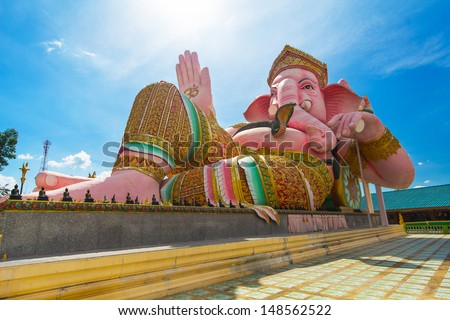 Pink ganesha statue Nakornnayok in Thailand - stock photo