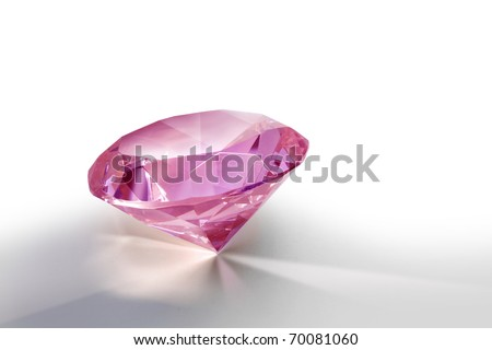 Pink gemstone diamond shining on light grey background