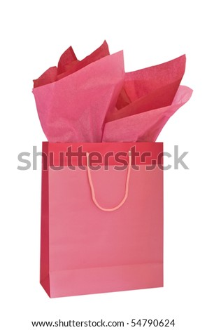 Pink gift bag and tissue , Honeysuckle pantone color of the year 2011 , isolated on white background - stock photo