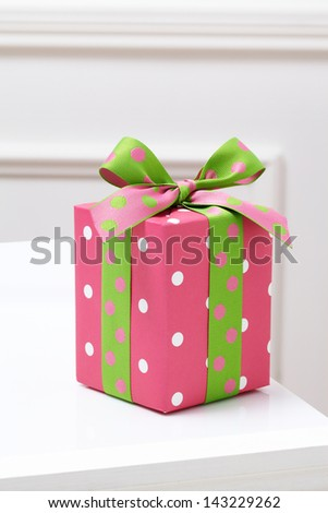 pink gift box on white table. Gift boxes. - stock photo