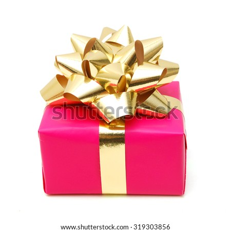 Pink gift box with golden ribbon