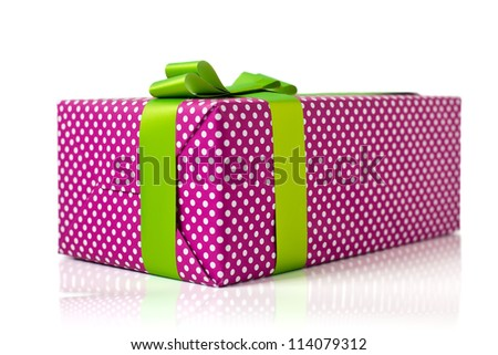 pink gift box with light green bow isolated on white background - stock photo
