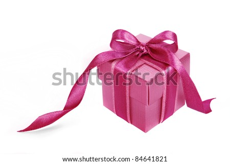 Pink gift box with Pink ribbon on white background - stock photo