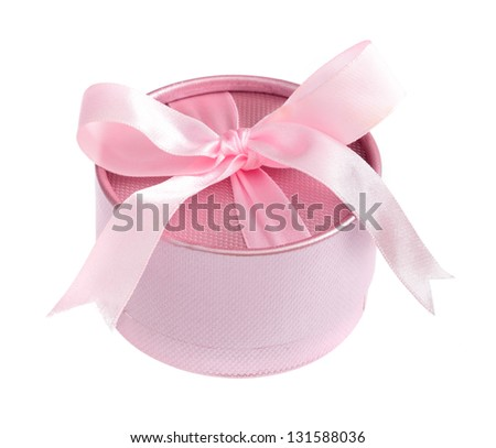 pink gift boxes in round shape isolated on white background - stock photo