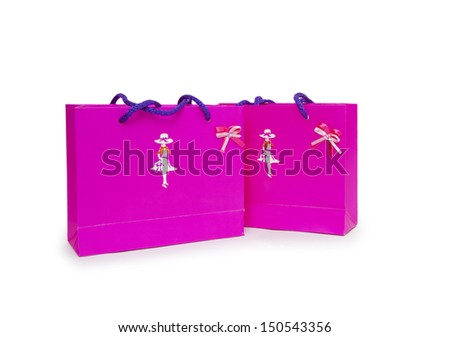 pink gift boxes on white background.