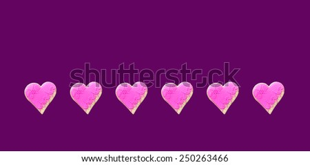 Pink  Gingerbread hearts Isolated on violet  background - stock photo