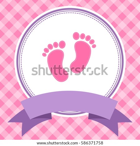 Pink girl baby shower invitation card stock illustration 586371758 pink girl baby shower invitation card with footprints raster version filmwisefo