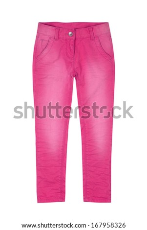 Pink girl trousers isolated on white - stock photo