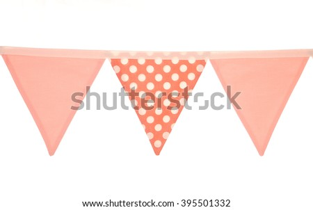 pink girls bunting studio cutout - stock photo