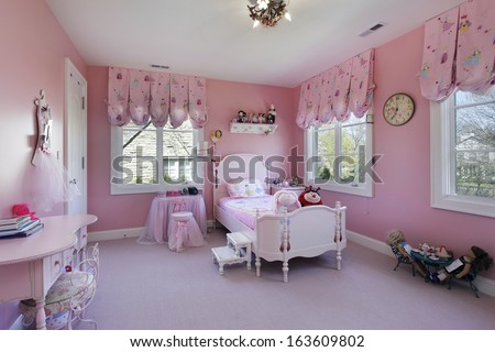Pink girls room in luxury suburban home - stock photo